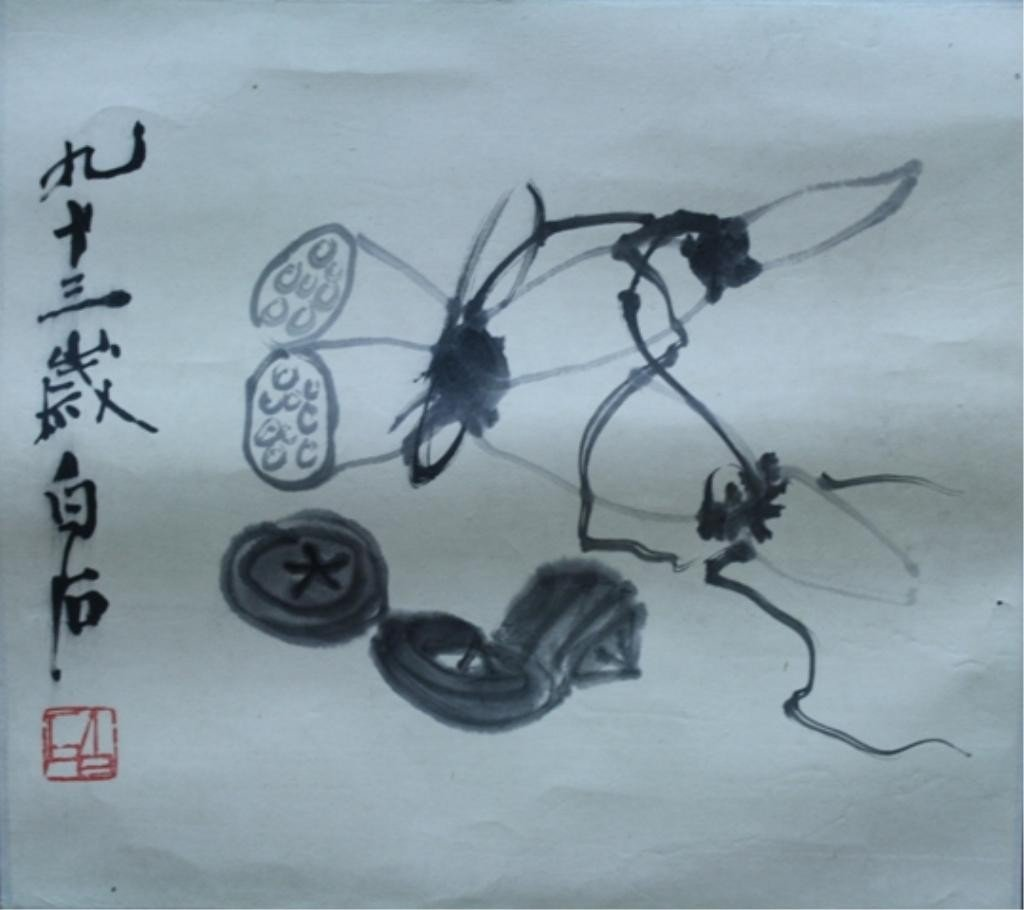 8: Lot of 2 Chinese Scroll Paintings attr Qi Bai Shi