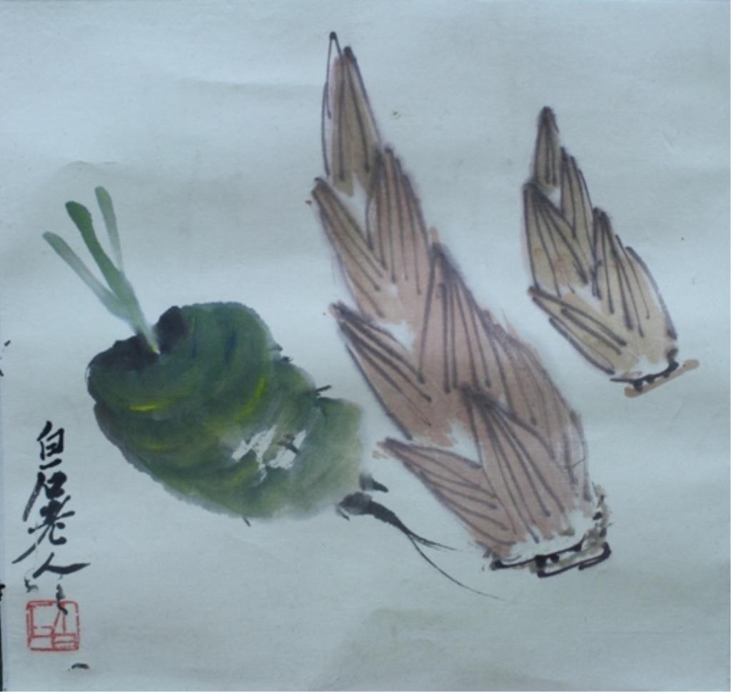 9: Lot of 2 Chinese Scroll Paintings attr Qi Bai Shi