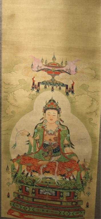 10: Chinese Mounted Scroll Painting of Guanyin