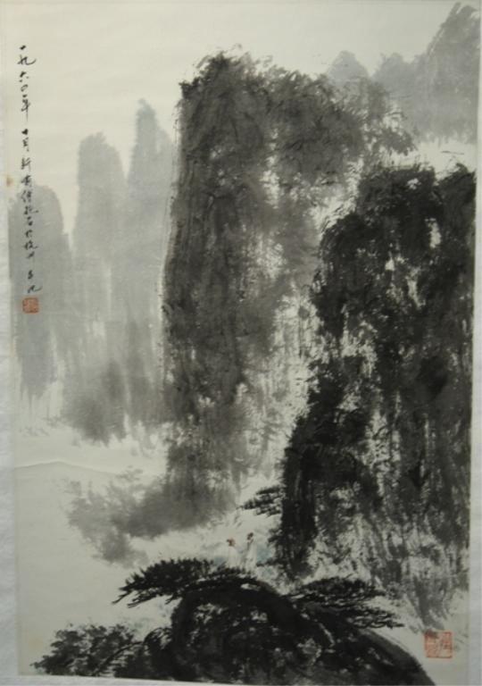 11: Chinese Landscape Scroll Painting attr. Fu Baoshi
