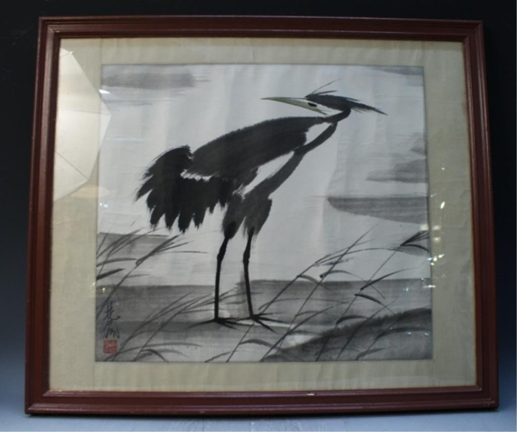 15: Chinese Framed Painting of Bird after Lin Fengmian