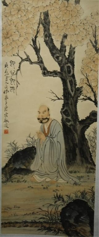 17: Chinese Scroll Painting of Lohan attr. Tang Yun