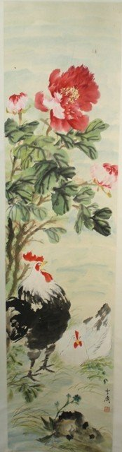 19: Chinese Scroll Painting of Flowers and Chickens