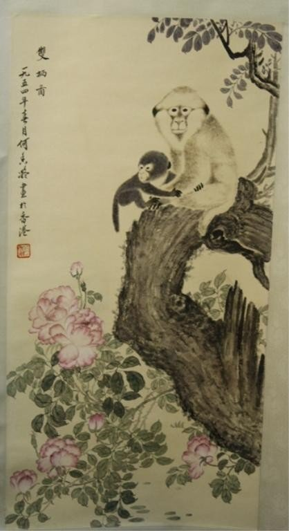 22: Chinese Scroll Painting of Monkeys - He Xiang Ning