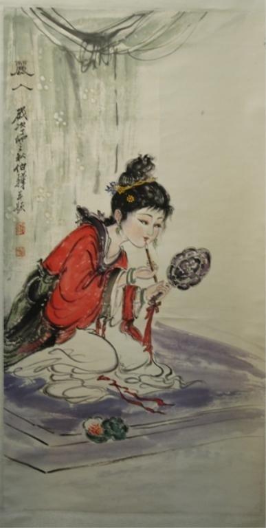 23: Chinese Scroll Painting of Beauty - Bai Bohua