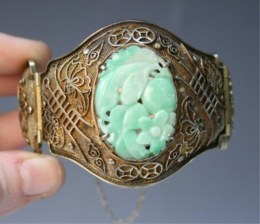 209: Chinese Silver Bracelet with Jade Inset