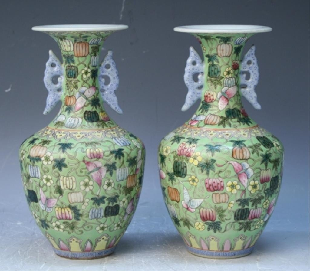 1: Chinese Green Ground Famille Rose Vase Pair 18th C