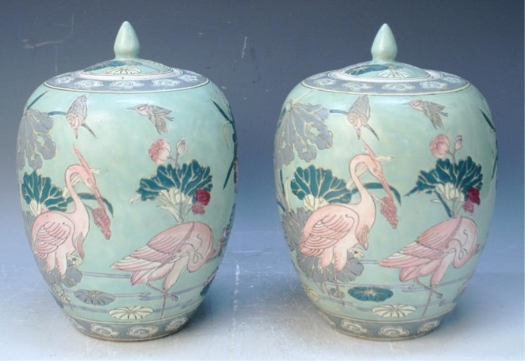 2: Chinese Pair of Famille Rose Covered Jars
