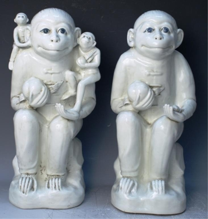 4: Chinese Pair of White Porcelain Monkey Figures