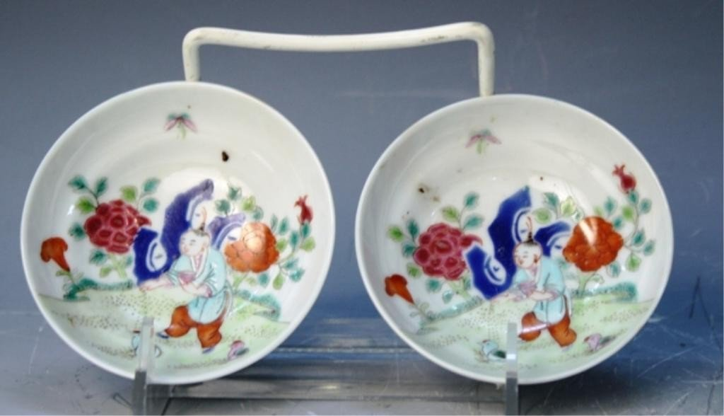 5: Chinese Pair of Famille Rose Dishes Early 20th C