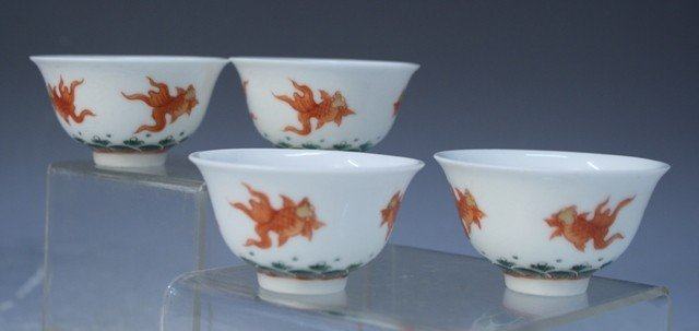 8: Chinese Set of 4 Porcelain Cups w/ Fish