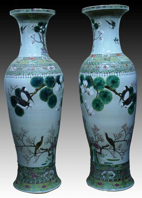 9: Large Pair of Chinese Famille Rose Vases