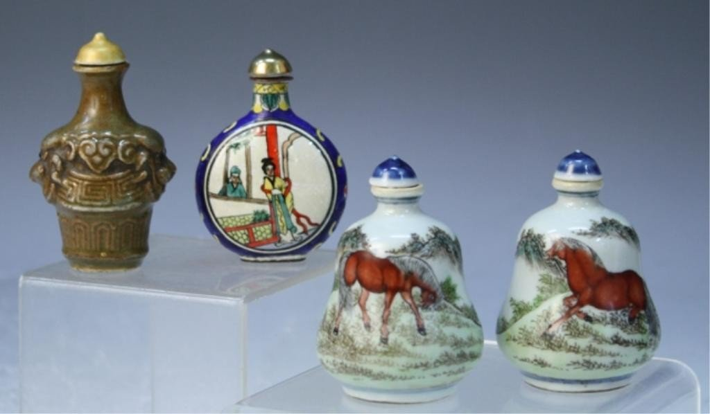 10: Chinese Lot of 4 Porcelain Snuff Bottles