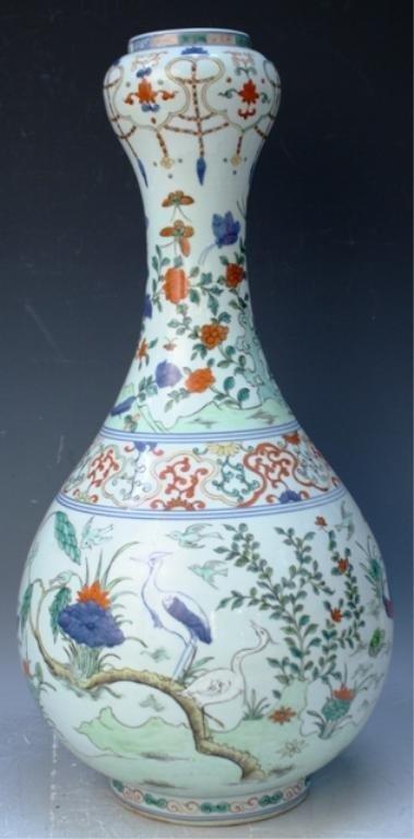 21: Chinese Famille Verte Porcelain Garlic Vase