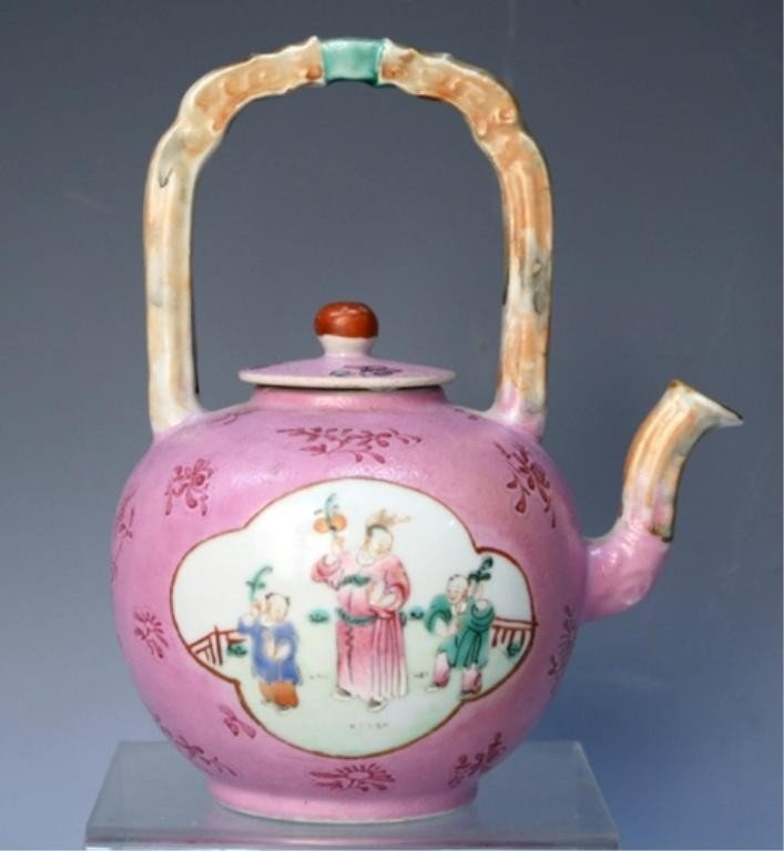 24: Chinese Pink Ground Famille Rose Teapot Qing Dyn