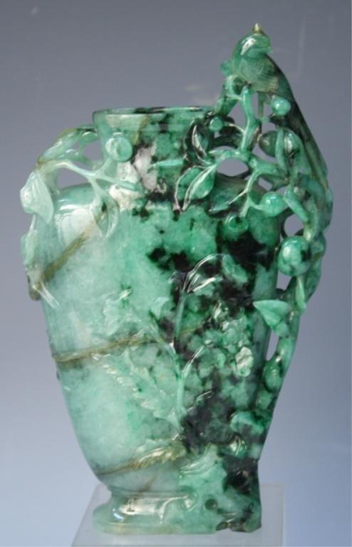83: Chinese Translucent Jadeite Vase Qing Dynasty