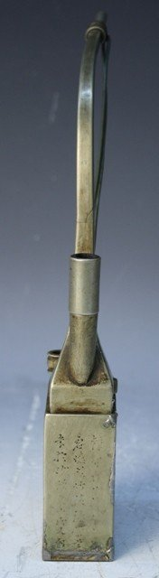 507: Chinese Brass Smoking Pipe w Etched Designs - 4