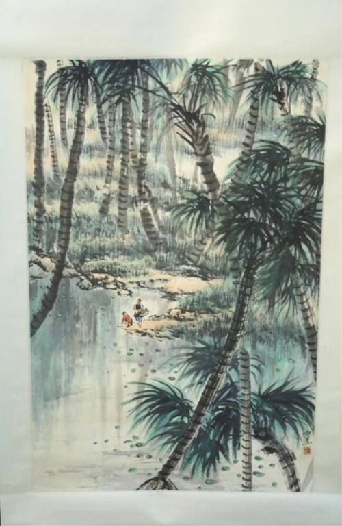 7: Chinese Scroll Painting attr Bai Jiao