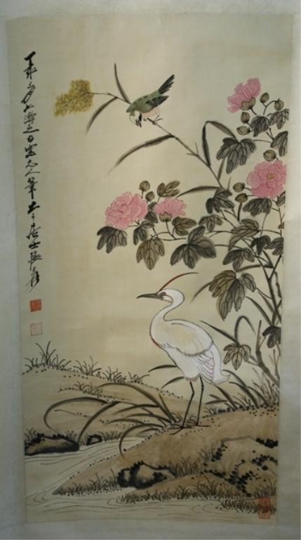 10: Chinese Scroll Painting of Birds aft. Zhang Daqian
