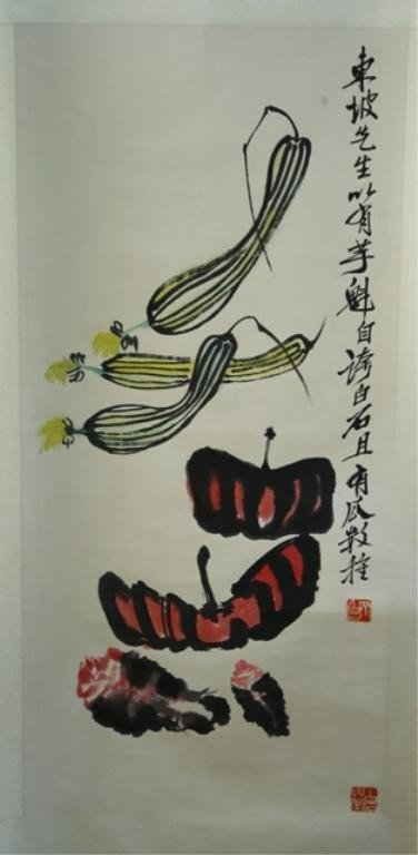 11: Chinese Scroll Painting of Squash after Qi Baishi