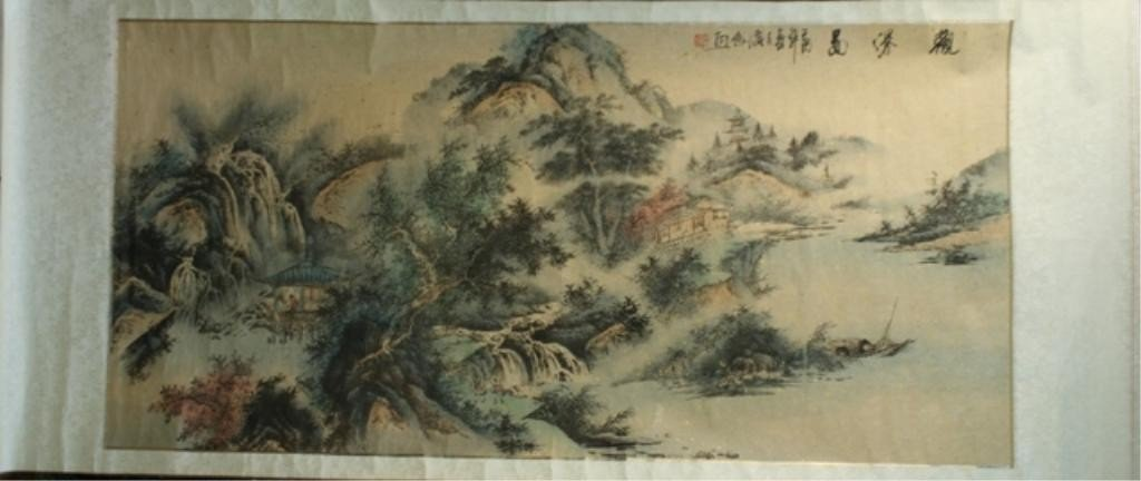 15: Chinese Mounted Landscape Scroll Painting