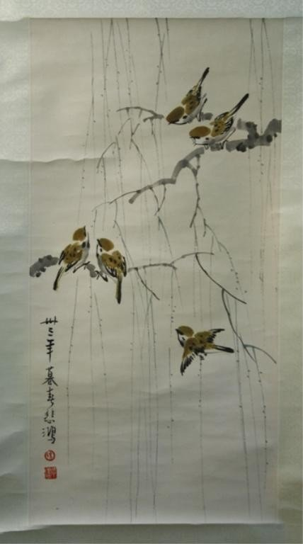 16: Chinese Scroll Painting of Birds attr Xu Beihong