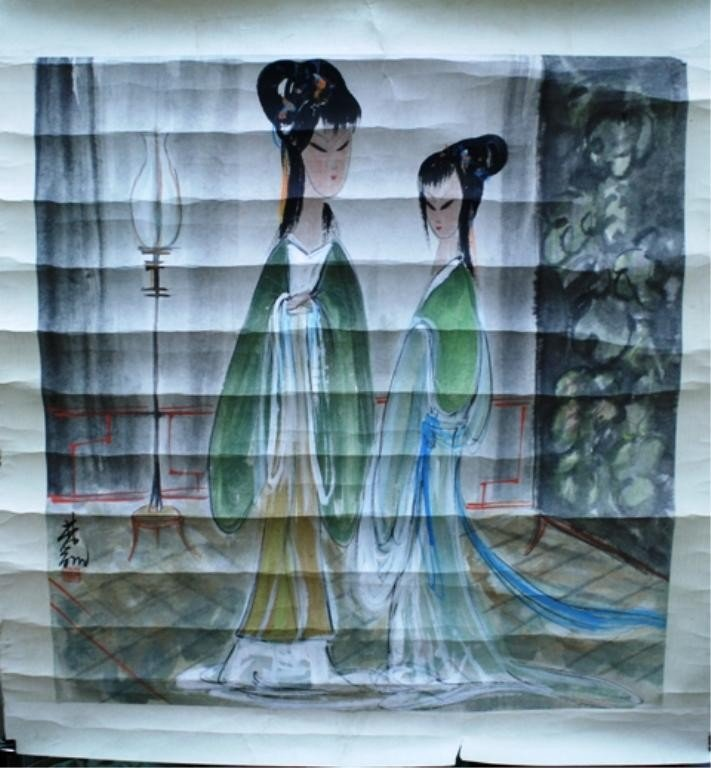 20: Chinese Scroll Painting of Women attr Lin Fengmian