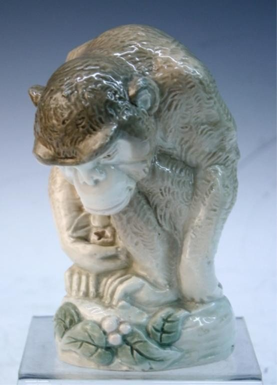 7: Czech Amphora Works Riessner Porcelain Monkey