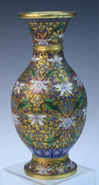 8: Chinese Cloisonne Vase with Lotus Flowers