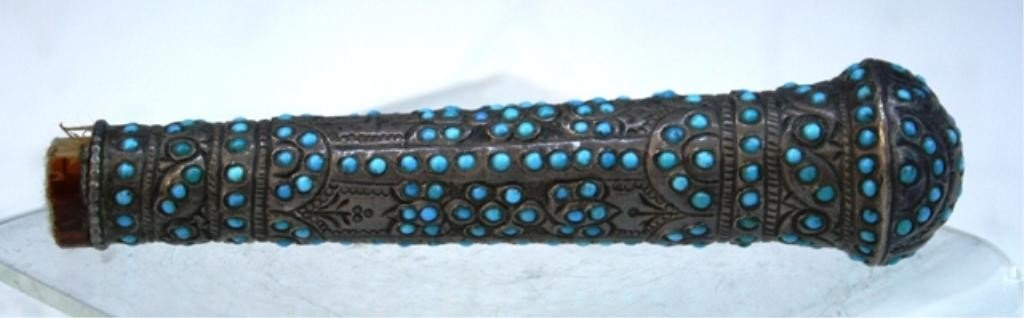 9: Middle Eastern Silver Handle w/ Turquoise Inlays