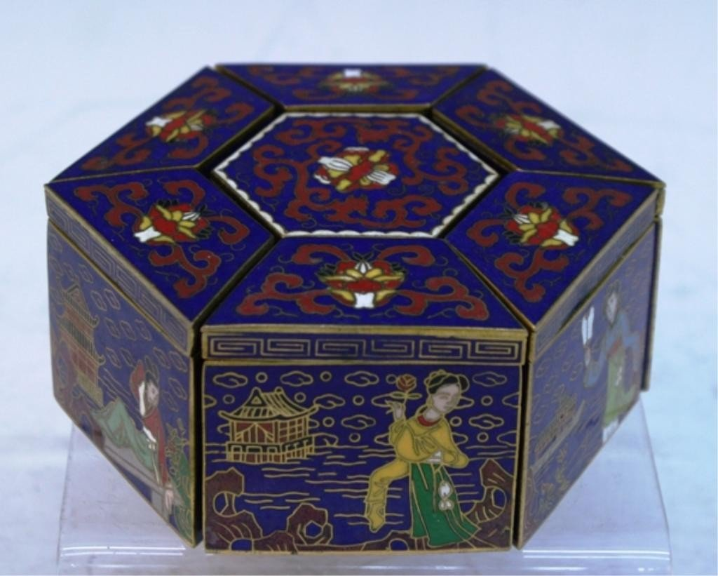 13: Chinese Hexagonal Cloisonne Box w/ Separate Pieces