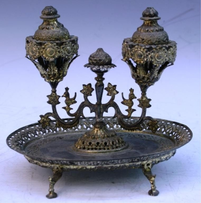 16: Turkish Silver Spice Well w/ Acorn Shape & Flowers