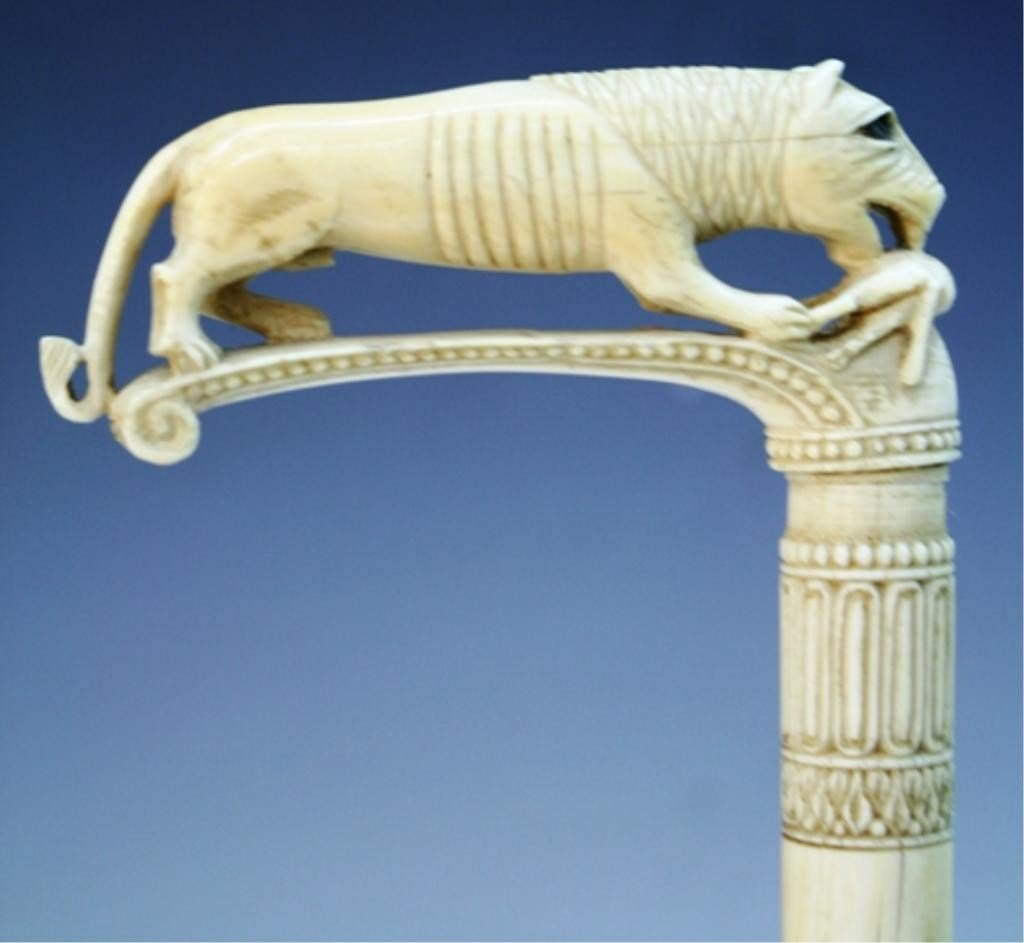 17: Ivory Cane Topper with Lion and Gazelle