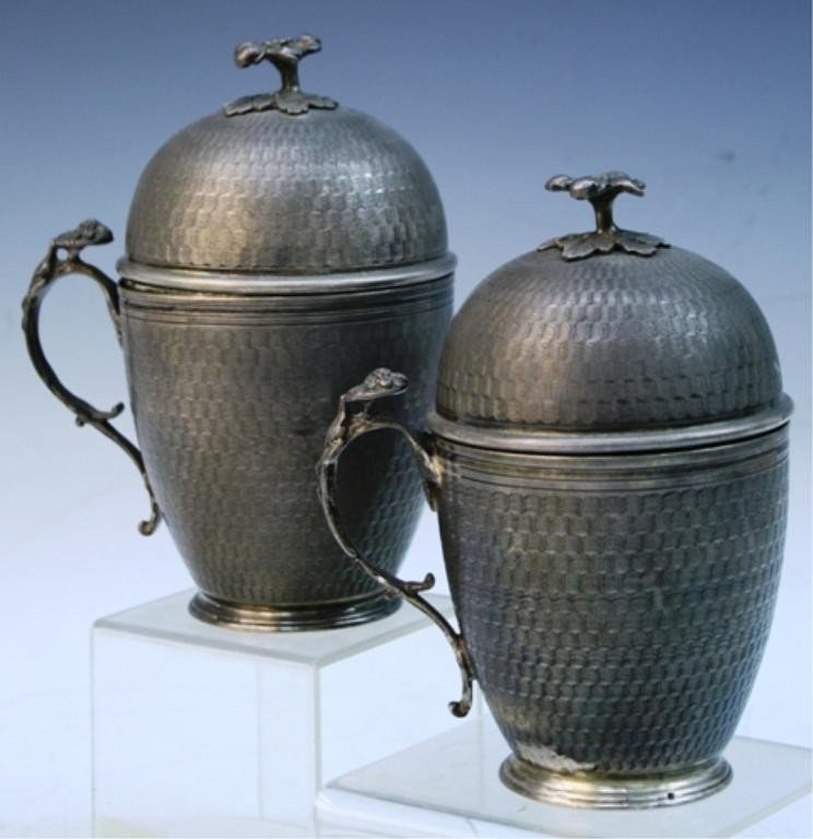 18: Egyptian Pair of Silver Covered Cups 20th C.