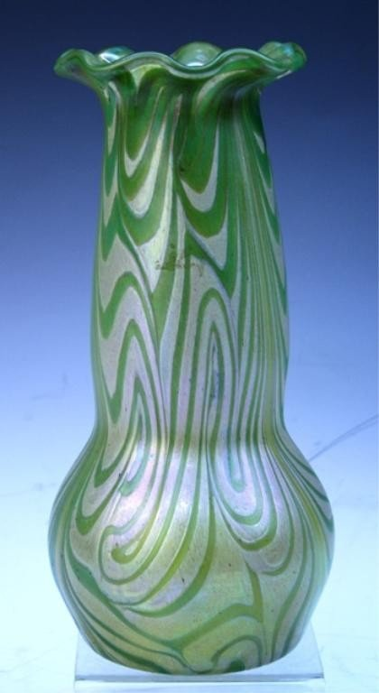 39: Green/Yellow Iridescent Bohemian Glass Vase