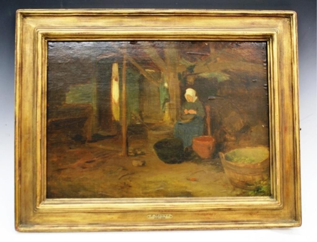 314: Anton Mauve Painting of Farmer's Wife 19th C.