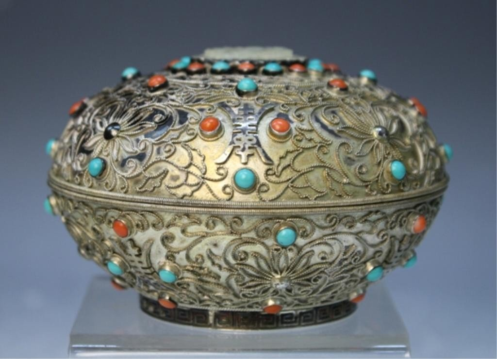 3: Chinese Silver Filigree Box w/ Coral & Turquoise