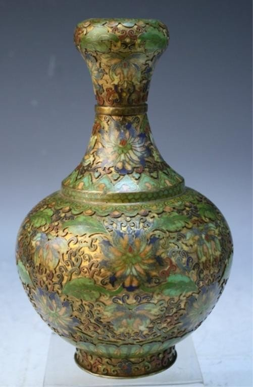 7: Chinese Cloisonne Vase with Floral Motif