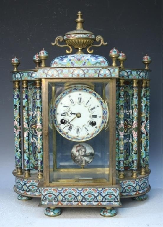 8: Chinese Polychrome Cloisonne Enamel Clock