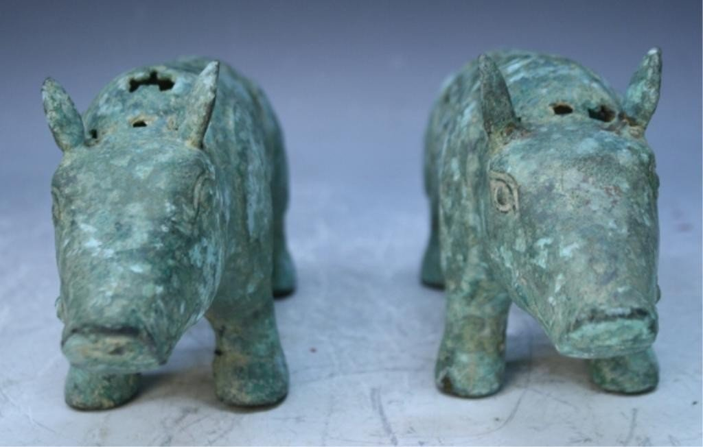 23: Chinese Pair of Ming Dyn. Bronze Gift Pigs