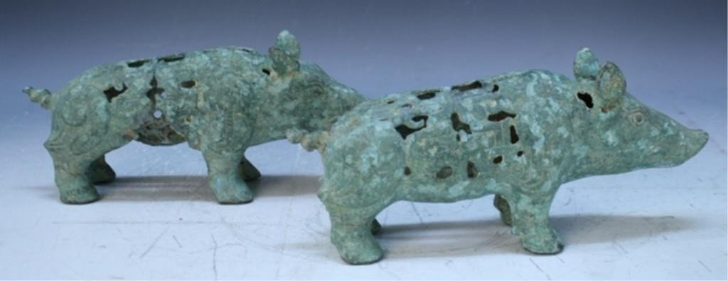 23: Chinese Pair of Ming Dyn. Bronze Gift Pigs - 5