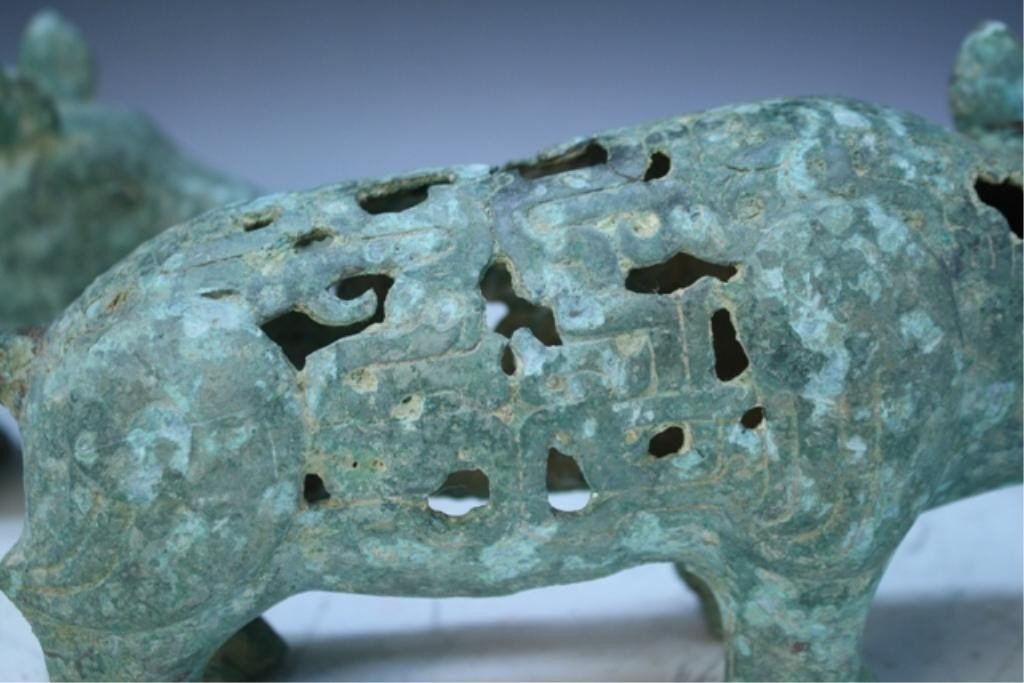 23: Chinese Pair of Ming Dyn. Bronze Gift Pigs - 6
