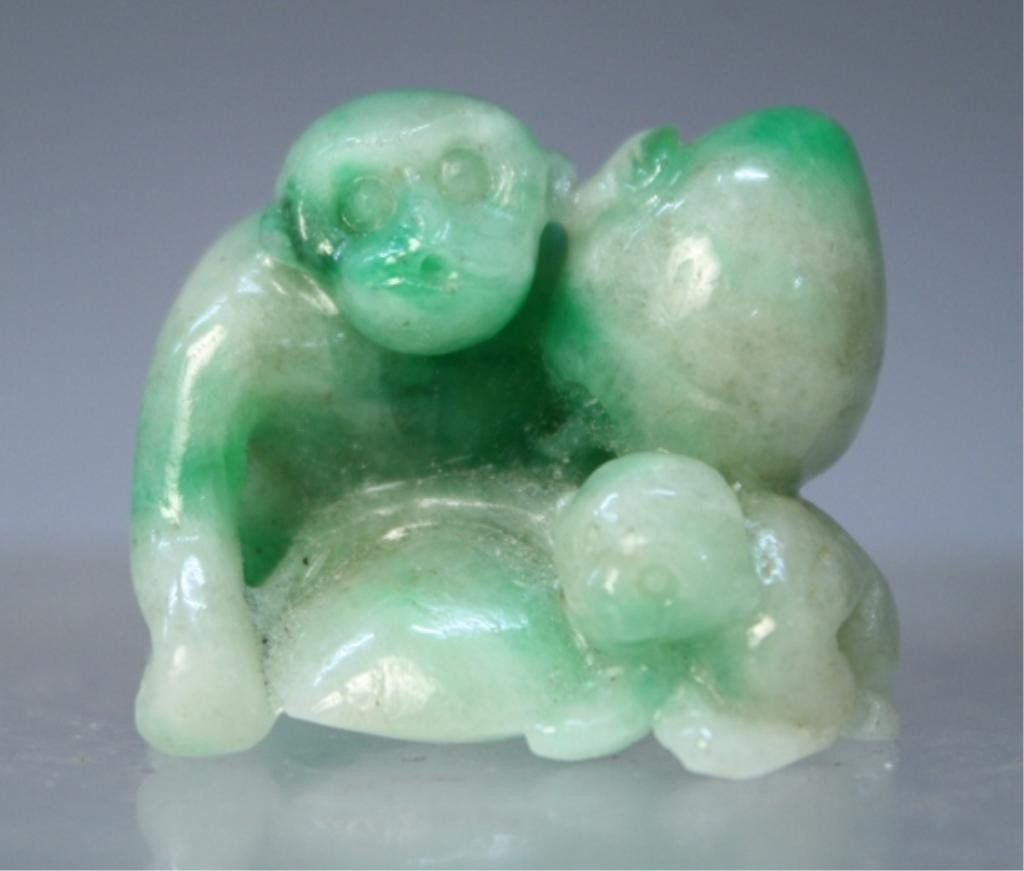85: Chinese Jade Carving of Monkey and Peach