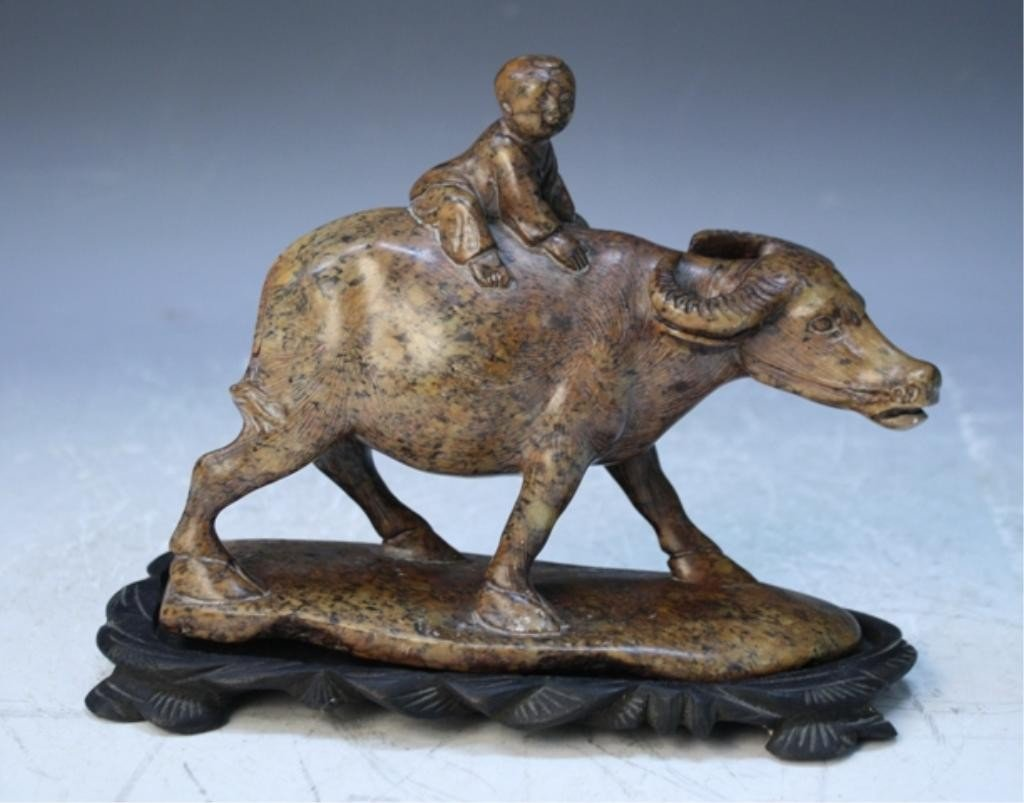 96: Chinese Stone Carving of Boy Riding a Cow