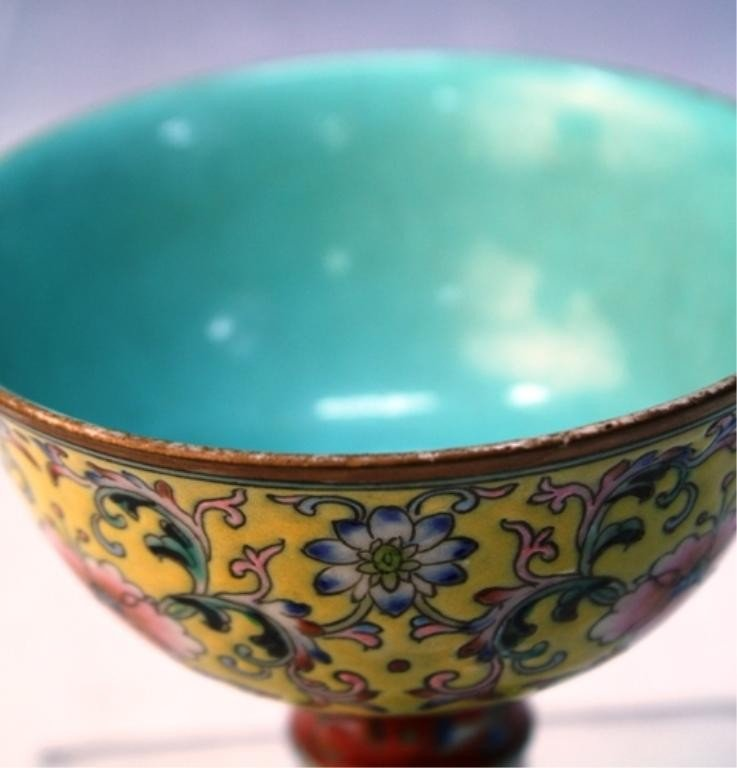 188: Chinese Porcelain Footed Dish with Floral Motif - 6