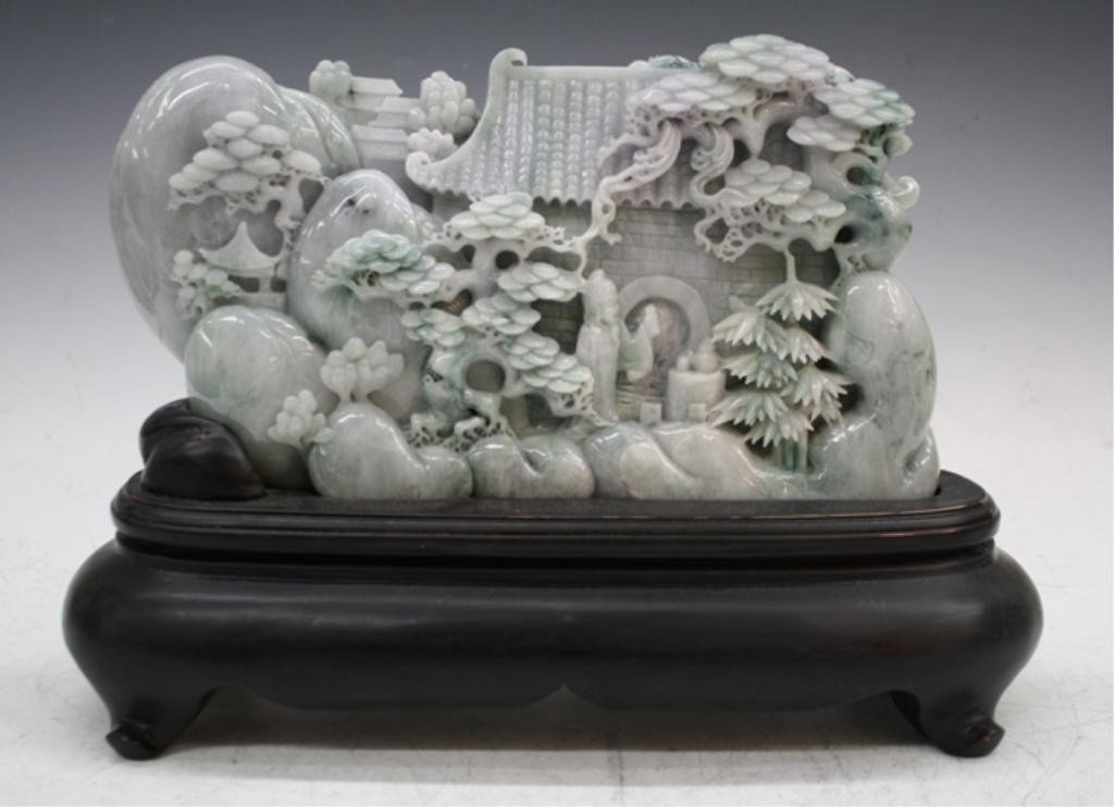 288: Chinese Carved Jade Mountain w/ Figures