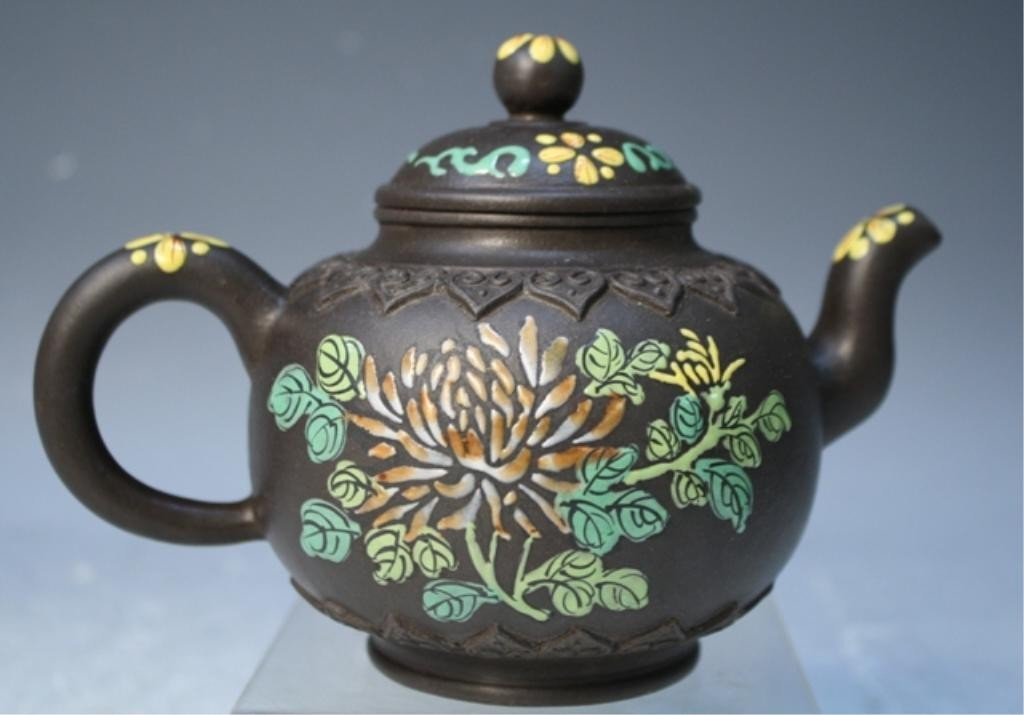 293: Chinese Yixing Teapot with Enamel Designs