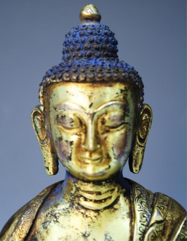 391: Chinese Gilt Bronze Bodhisattva - 10