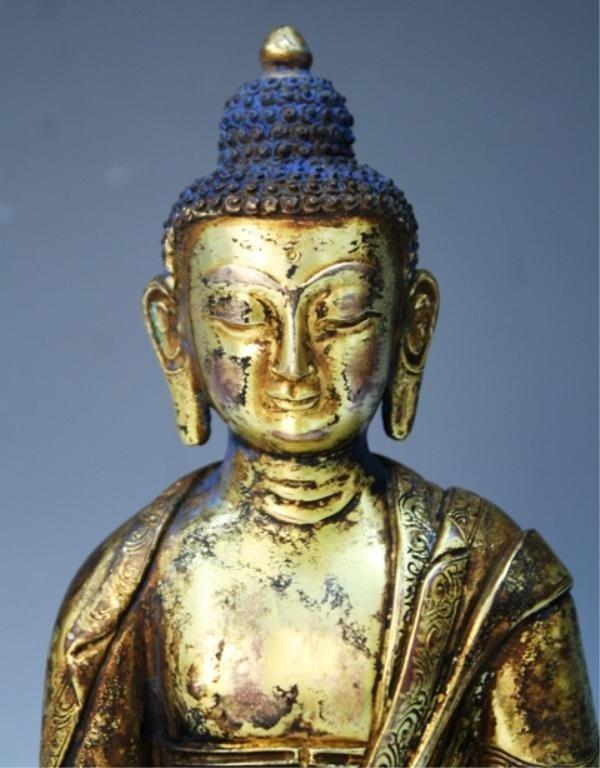 391: Chinese Gilt Bronze Bodhisattva - 8