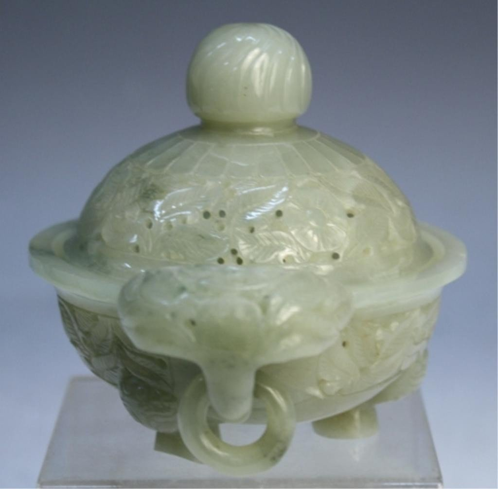 465: Small Chinese Jade Censer Qing Dynasty - 4